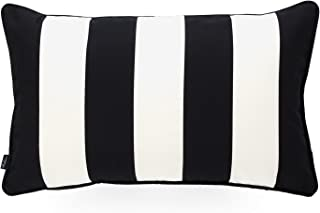 Hofdeco Decorative Lumbar Pillow Cover Indoor Outdoor Water Resistant Canvas Modern Black Stripes 12