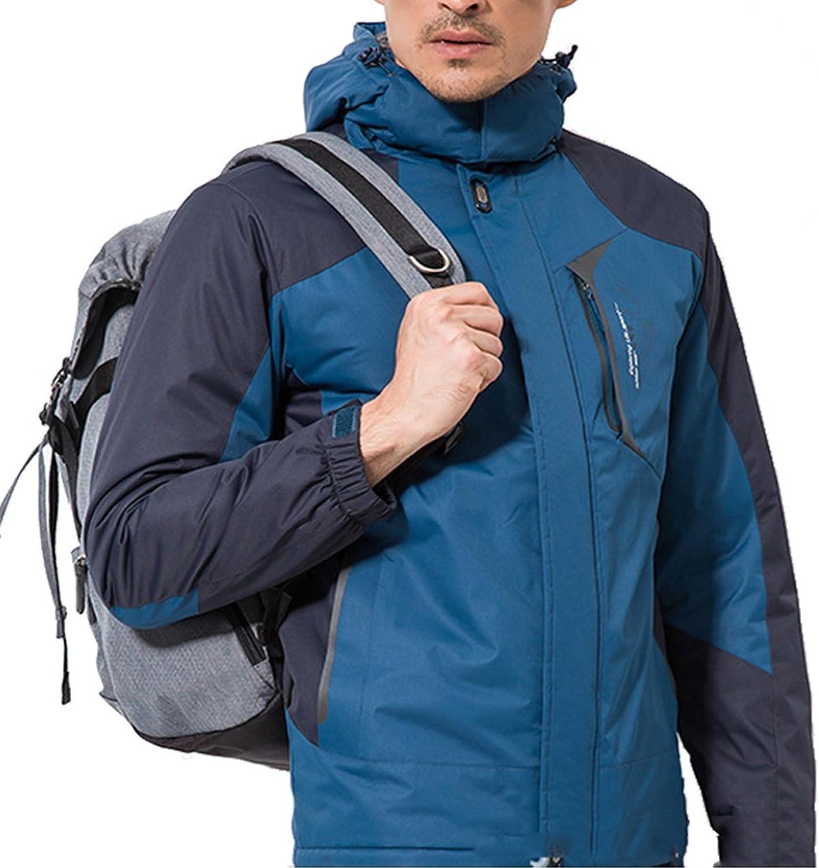 Emansmoer Herren Windbreaker Baumwolle gepolstert Fleece gefüttert Mantel Wasserdicht Outdoor Sport Wandern Ski Jacke
