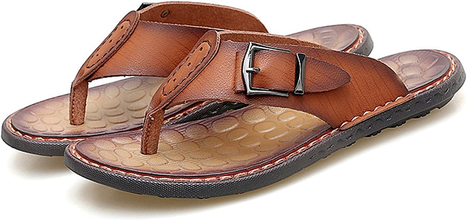 YUBINtuoxie European And American Manual Anti-skid Slippers Men Leather Beach shoes Personality Cool Outdoor Casual Sandals Style Simple And Comfortable Slippers. (color   BROWN, Size   44)