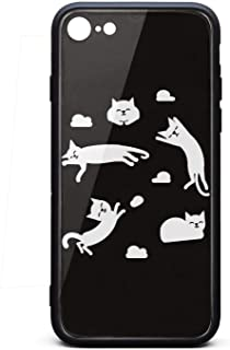 Cute Phone Case for Iphone7/8 Cat Clouds Sun Napping Cloud Funny Rubber Frame Tempered Glass Covers Designer Shock-Absorption Skid-Proof Never Fade Cell Cases Good Hard