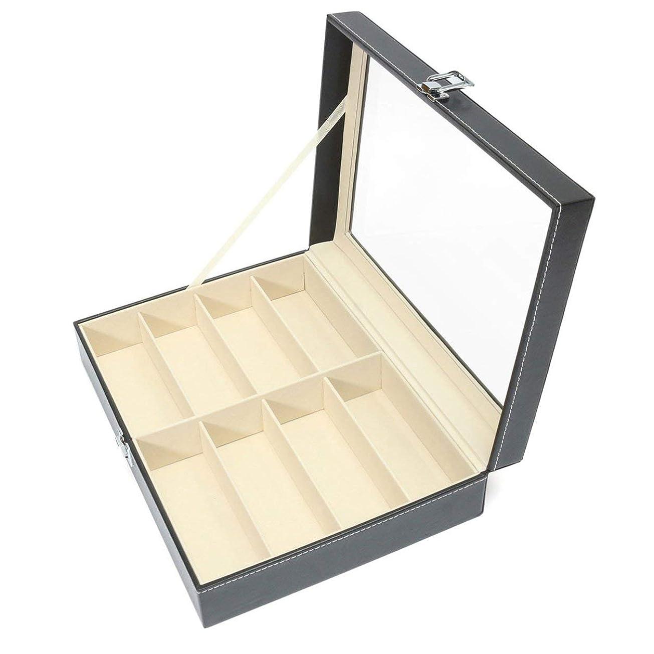 単なるベアリングアクセルSaikogoods 実用的なデザイン8グリッドサングラスの収納ケース高級PUレザーメンズ?レディース?サングラスショップ表示ボックスケース 黒