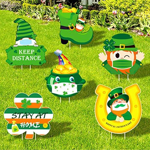 luck sea St. Patrick's Day Quarantine Yard Signs Outdoor Decorations - Saint Patty's Day Shamrock Leprechaun Irish Lawn Decor with Stakes