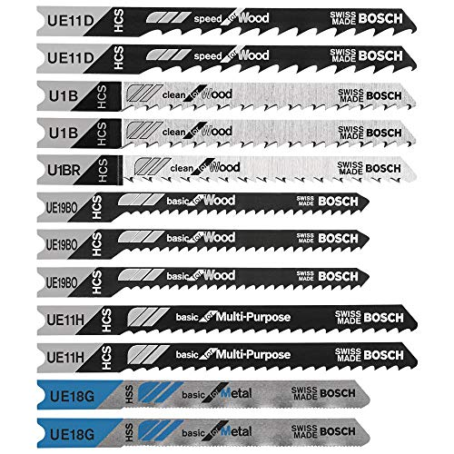 BOSCH U12BC Multi-Purpose 12-Pc U-Shank Jigsaw Blade Set