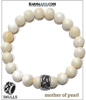 KarmaArm Skull Bracelet | Fearless | Mother of Pearl | Meditation Self-Care Mantra Wristband Yoga Jewelry | Reiki Healing Energy Chakra Zen Bead Mala