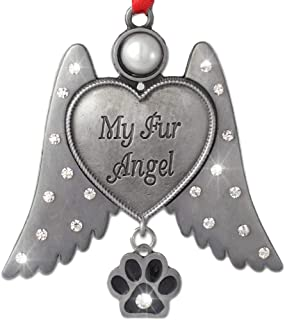 BANBERRY DESIGNS Pet Memorial Ornament- Angel Hanging Christmas Ornament with Rhinestone Jeweled Wings and Paw Print Charm - My Fur Angel Engraved on Heart - Metal 3