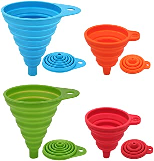 Silicone Collapsible Funnel Set 4 Pack Small+Large, Maberry Portable/Flexible/Foldable Kitchen Travel Funnel for Water Bottle Oil Liquid/Powder Transfer, Food Grade FDA Approved