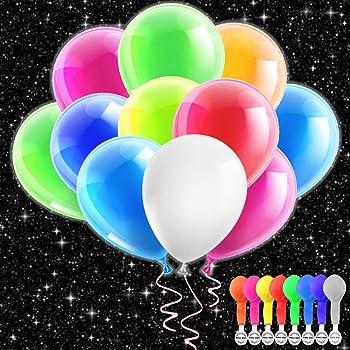 LED Luftballons Ballons Party 50 Stück Mischfarbe für Geburtstag Hochzeit Hauptdekorationen Festival Weihnachten(8 Farbe), SIZE2
