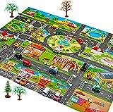 Babamua Kids Carpet Playmat Car Rug ,Large 51.1x39.3in Best Kids Rugs for Playroom & Kid Bedroom, Map Game Scene Map Children's Educational, Road Traffic System, Play Mat Rug Great