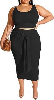 Womens Sexy Plus Size 2 Piece Midi Dress Outfits - Sleeveless Tie Dye Print Tank Crop Top Bodycon Skirts Set