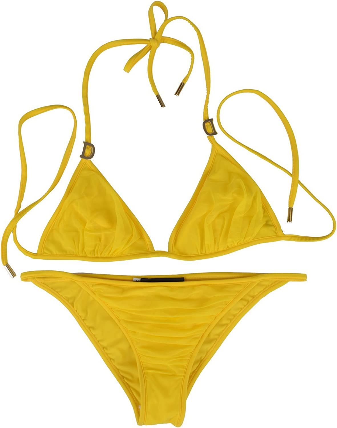 Dsquared Women's Yellow Metal Detail Decorated Two Piece Bikini Swimsuit US L EU 44