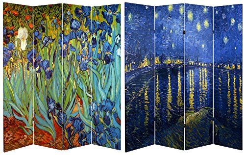 %48 OFF! Oriental Furniture 6 ft. Tall Double Sided Works of Van Gogh Canvas Room Divider – Irises/Starry Night Over Rhone