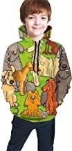 Teen Hooded Sweatshirts,Funny Cute Nursery Themed Graphic with Happy Dog Characters On Grassy Land Blue Sky