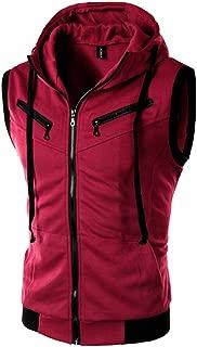 Men Tee Sleeveless Zip Up Drawstring Hooded Vest Fashion Sports Cardigan