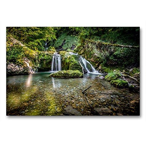 CALVENDO Premium Textil-Leinwand 90 x 60 cm Quer-Format Wasserfall im Allgäu, Deutschland, Leinwanddruck von Markus Van Hauten
