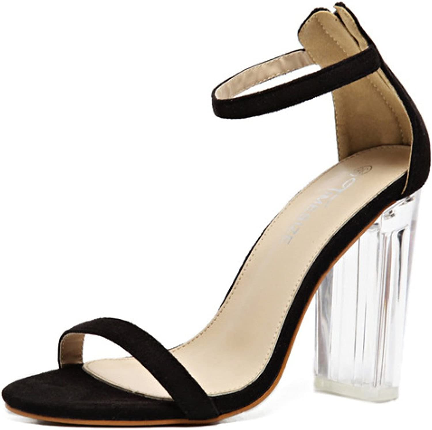 Women's High Heel Transparent Heel Strappy Summer Ankle Strap shoes Ladies Party Wedding Prom Sandals,Black-EU 37=6.5B(M) US