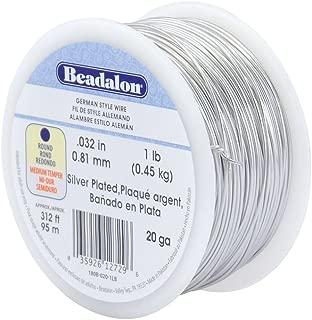 Beadalon 20-Gauge Round German Style Wire, Silver, 1-Pound