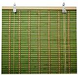 Solagua 6 Modelos 14 Medidas de estores de bambú Cortina de Madera persiana Enrollable (110 x 135 cm, Verde)