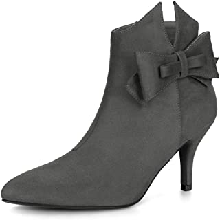 Allegra K Women's Point Toe Bow Stiletto Heel Ankle Boots