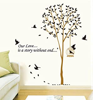 BIBITIME BirdCage Under the Tree Birds DIY Wall Stickers Home Decal Our Love is a Story without End Room Decals for room ,DIY Size: 64.96 62.99 IN
