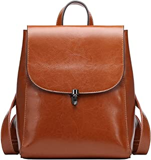 Women's Leather Backpack Casual Style Flap Backpacks Daypack for Ladies (Brown)