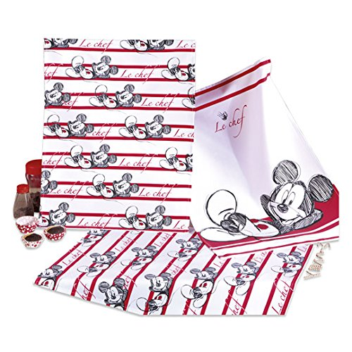 Disney Lot de 3 torchons Motif Mickey Mouse env. 50 x 70 cm 100 % coton