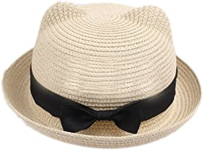 eYourlife2012 Girl's Vintage Cat Ear Bowler Straw Hat Sun Summer Beach Cap