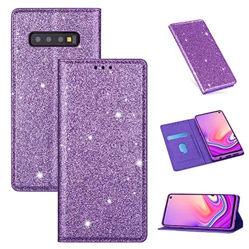 Nadoli Glitzer Wallet Hülle für Galaxy S10,Bling Schutzhülle Leder Flip Case Lederhülle mit Kartenfach Standfunktion Klappbar Magnetisch Etui für Samsung Galaxy S10