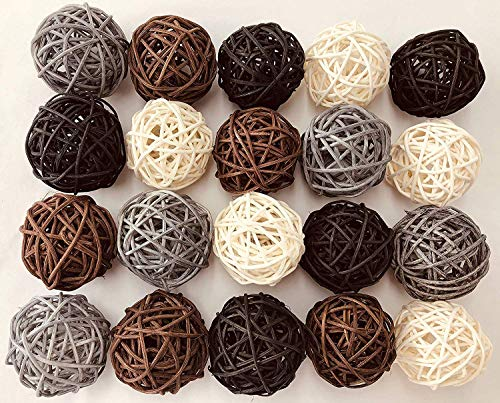 20-Pack Mixed Color Wicker Rattan Balls - Decorative Orbs Natural Spheres Craft DIY, Wedding Decoration, Christmas Tree, House Ornaments Vase Filler - 4 Colors Assorted,45mm,Black,Grey,Brown and White