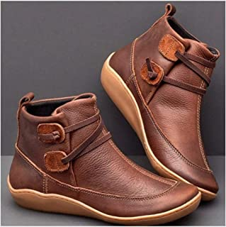 ZSLLO Women PU Ankle Boots Winter Snow Boots Autumn Flat Shoes Ladies Shoes Cross Strap Vintage Punk Mujer Botas Short Snow Boot (Color : Brown, Size : 4)