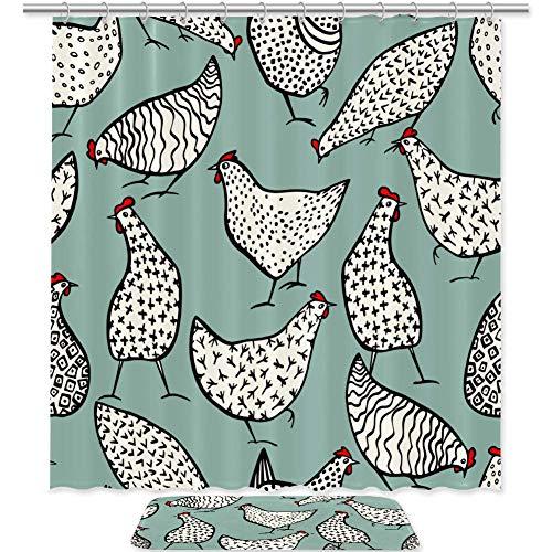 TIZORAX Hühner Muster Bad Duschvorhang Set mit rutschfesten Bad Teppichen Bodenmatte Home Decoration