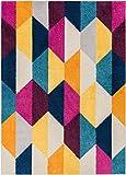Well Woven Bailey Geometric Tile Bright Fuchsia Purple Blue Yellow Orange Modern 3x5 (3'11' x 5'3') Area Rug