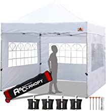 ABCCANOPY Tents Canopy Tent 10 x 10 Pop Up Canopies Commercial Tents Market stall with 3 Removable Sidewalls and 1 Door Wall Bonus 4 Weight Bags, 4 Stakes and Upgrade Roller Bag, White