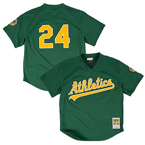 d559a467c Mitchell   Ness Rickey Henderson Oakland Athletics MLB Men s Green 1998  Authentic Throwback Batting Practice Jersey