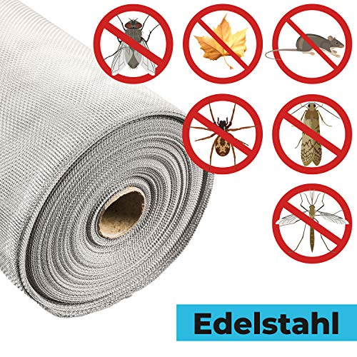 Fliegengitter EDELSTAHL Insektenschutz | Fliegengitter Edelstahlgewebe gegen Raten,Mäuse,Fliegen STAHLIA®| EDELSTAHL | L x B: 200x80 CM