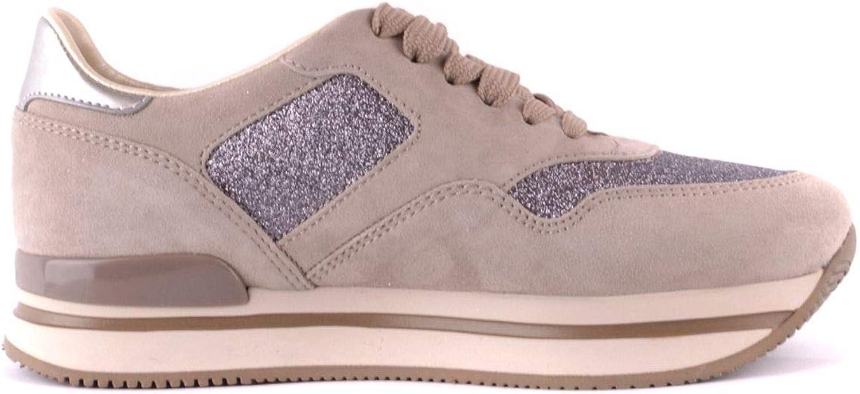 Hogan Women's MCBI37387 Beige Leather Sneakers