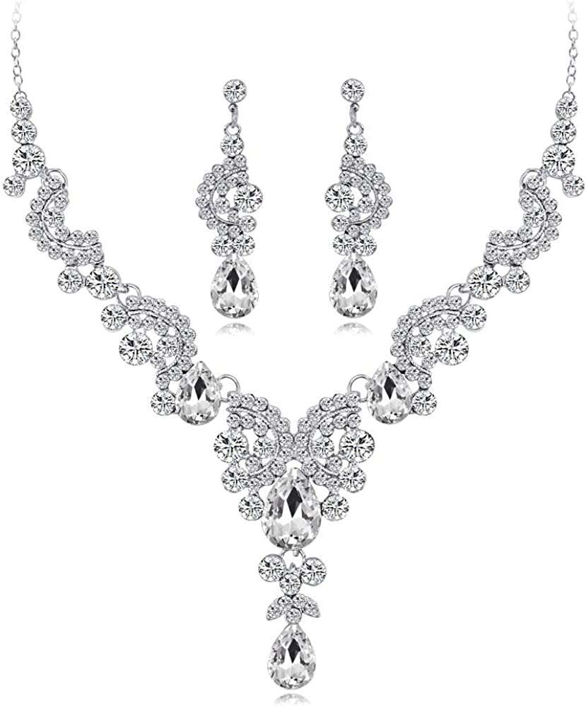 Mejialaa Wedding Bridal Jewelery Set for Brides Women Crystal Rhinestone Floral Wave Teardrop Cluster Statement Necklace Dangle Earrings
