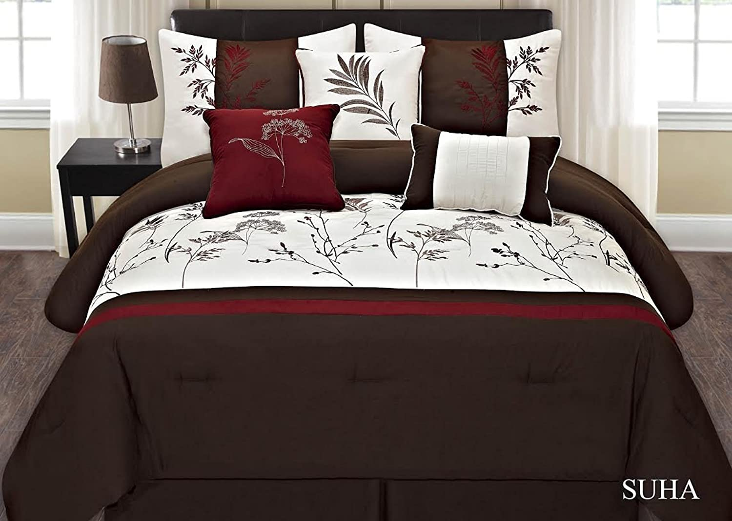 Fancy Collection 7-pc Embroidery Bedding Brown Off White Burgundy Comforter Set (Cal.king)