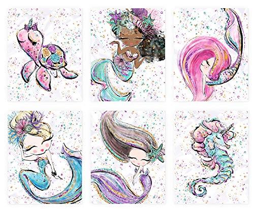 PINK PIXIE STUDIO Sirena Arte de pared 6 impresiones 8x10 sin marco, imagen de caballito de mar sin marco, pintura acuarela para dormitorio de niñas, cuarto de baño, decoración...