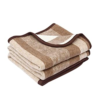 Alpaca Warehouse Alpaca Sheep Wool Blanket King/Full-Queen/Twin Size Thick Heavyweight Comfortably Warm - Great for Outdoor Use - Striped Design (Soft Brown/Camel/Beige, Full/Queen)