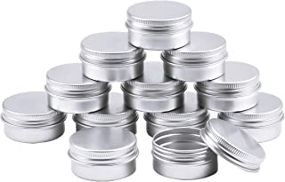 Aluminum Tins, 12 Metal Tins Jars with Screw Lids Round Aluminum Cans Cosmetic Containers with Lids for Lip Balm DIY Crafts Salve Candle Jewelry Sorting Storage Travel 40 * 20mm