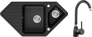 Spülbecken Graphit 97 x 49 cm, Eckspüle  Küchenarmatur  Siphon Klassisch, Granitspüle ab 80er Unterschrank, Küchenspüle von Primagran