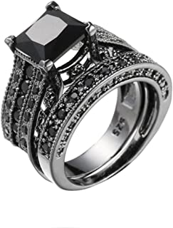 Vintage Rings ODGear 2-in-1 Girls Black Diamond Silver Engagement Wedding Band Ring Set,Lockets for Girls