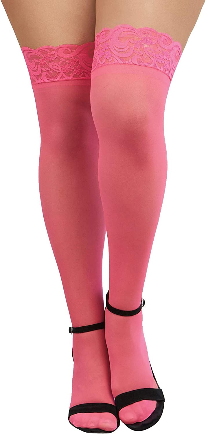 Dreamgirl Women's Sheer Thigh-High Stockings with Silicone Lace Top