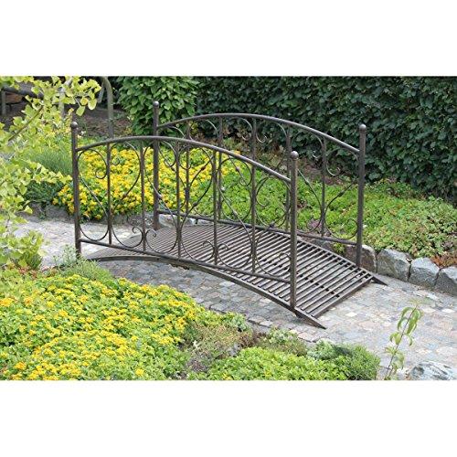 Varilando® Gartenbrücke mit Geländer aus Metall in Rost-Optik Deko-Gartenbrücke