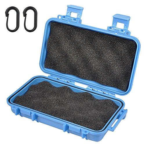 Boîte de rangement en mousse - Boîte étanche Boîte de rangement sèche antichoc avec 2 boucles en forme de U pour la pêche Camping Randonnée(L-Bleu)
