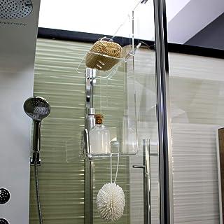 Portasapone doccia in plexiglass con 2 porta asciugamani -Mensola per doccia