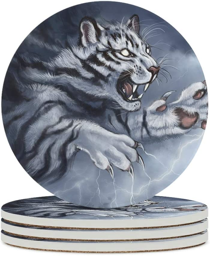 Alskyonyg Cruel We OFFer at cheap prices Tiger Ceramic Cheap Coaster Cork Backing No Round with
