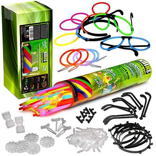 KNIXS Knicklichter, 100 Leuchtstäbe mit 121 Verbindern, Glow Sticks für Leucht-Armbänder, Brillen, Haarreifen, Neon-Leuchtstab Party-Pack, Partylichter