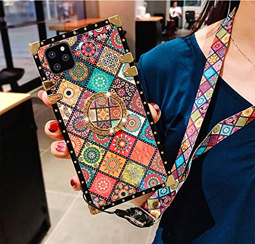 """for iPhone 11 Pro Max 6.5"""" Case,Fashion Cute Ethnic Totem Flower Gold Square Corner Soft Trunk Cover with Wrist Strap,Finger Ring Grip Kickstand for Woman Girls Phone Skin,Ethnic1"""