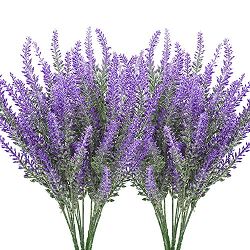 Artificial Lavender Plant with Silk Flowers for Wedding Decor and Table Centerpieces - 8 Piece Bundle